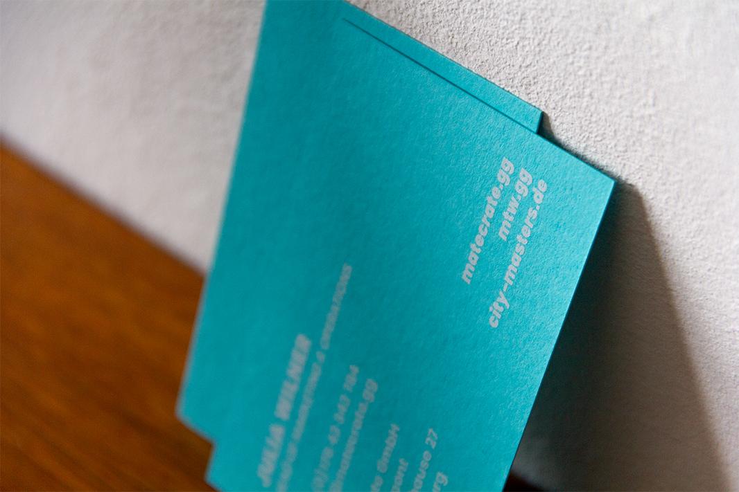 MateCrate Visitenkarten Design Esport Start-up Hamburg Siebdruck