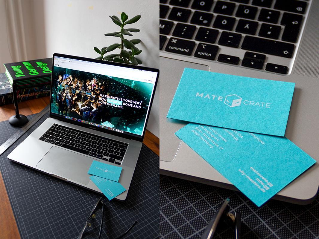 Visitenkraten MateCrate eSport Start-up Grafikdesign Hamburg Siebdruck