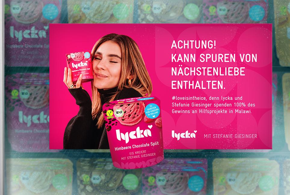 lycka vegan Headline Text Copywriter Hamburg Stefanie Giesinger Hilfsprojekt Malawi Kühlfach Aufkleber Werbemittel